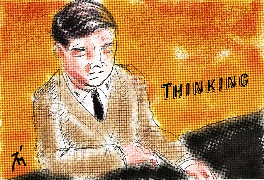 Illustration titled: Thinking