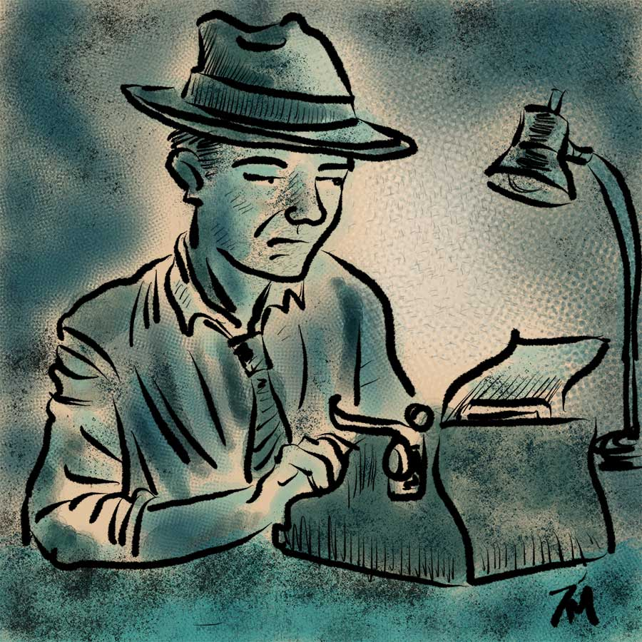 illustration of man typing.