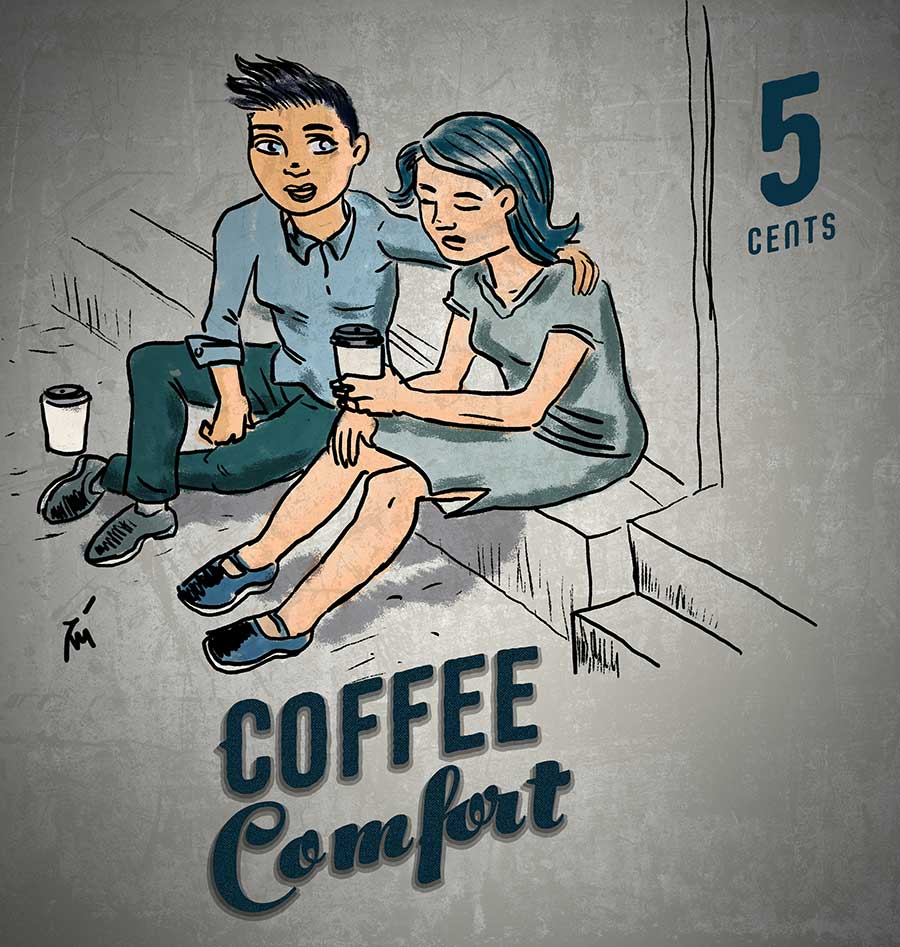 illustration titled Coffee Consolation.