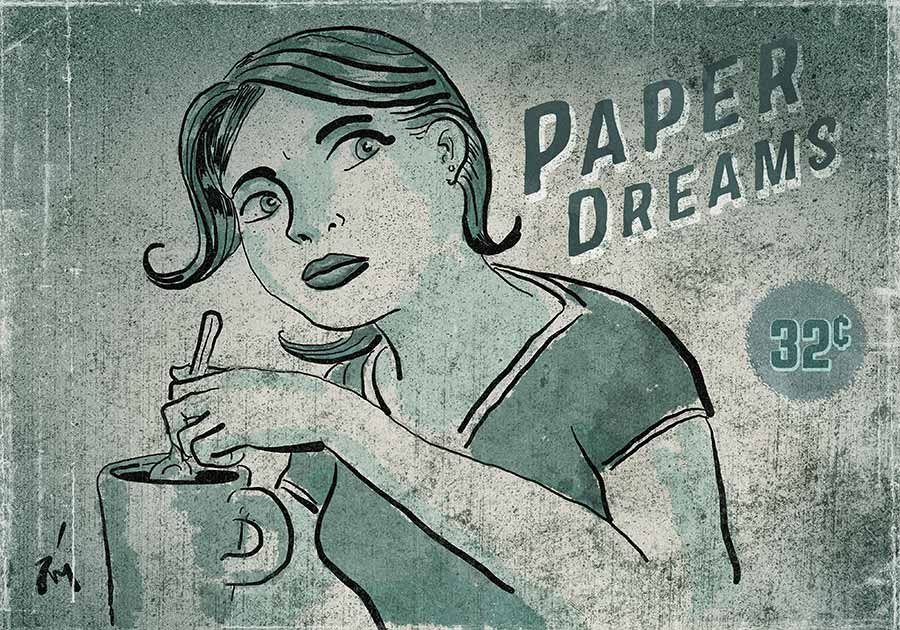 illustration titled Paper Dreams.