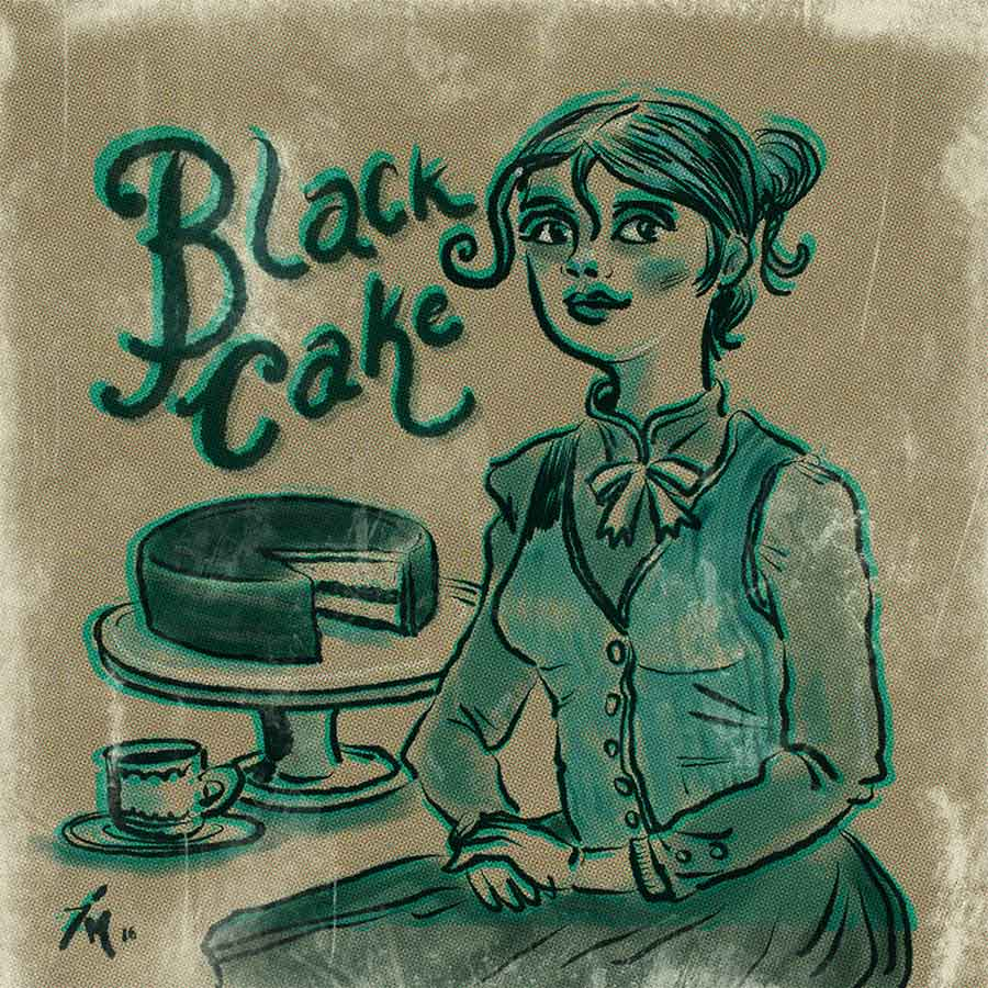 illustration titled: Black Cake