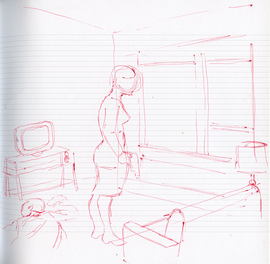 initial sketch done in red pen of the illustration titled Shy.