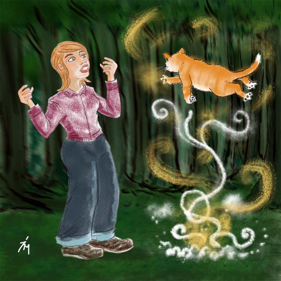 illustration title: I Choose You. Image of woman finding a flying cat.