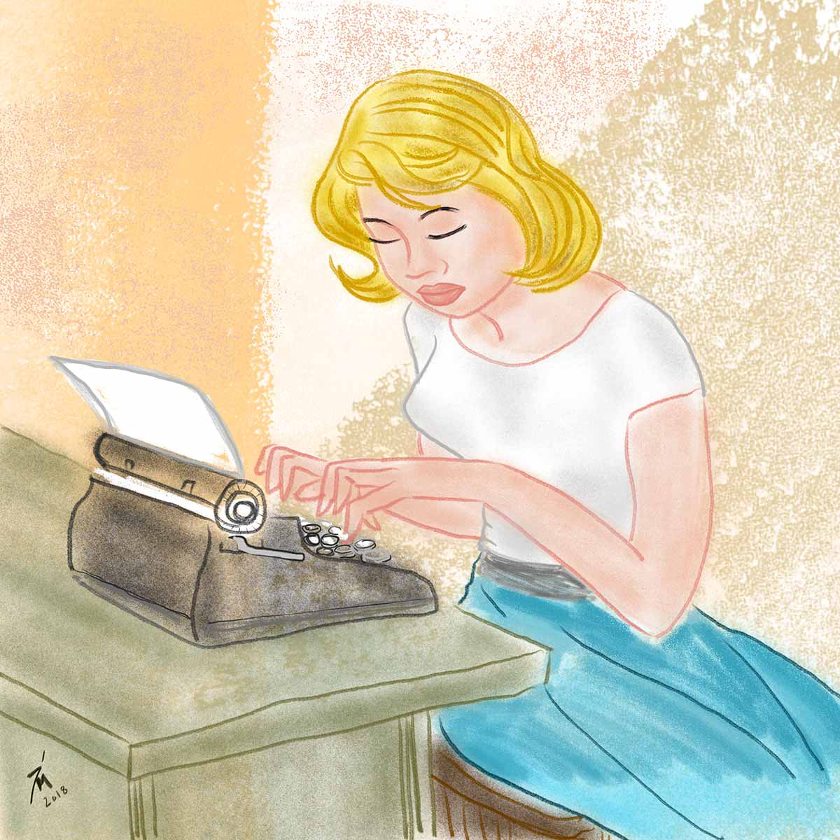 illustration title: Sylvia In Love. Image of woman typing.