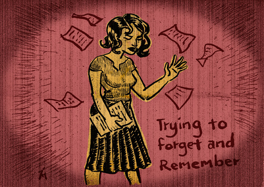 illustration titled: Trying To Forget.