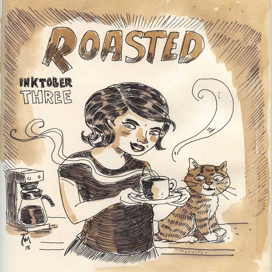 illustration title: Inktober 03: Roasted.