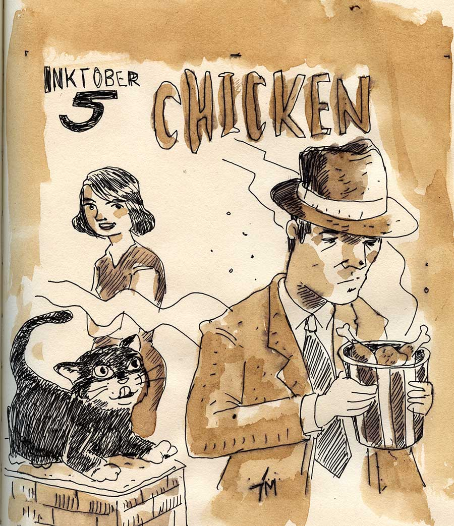 illustration title: Inktober 05: Chicken.
