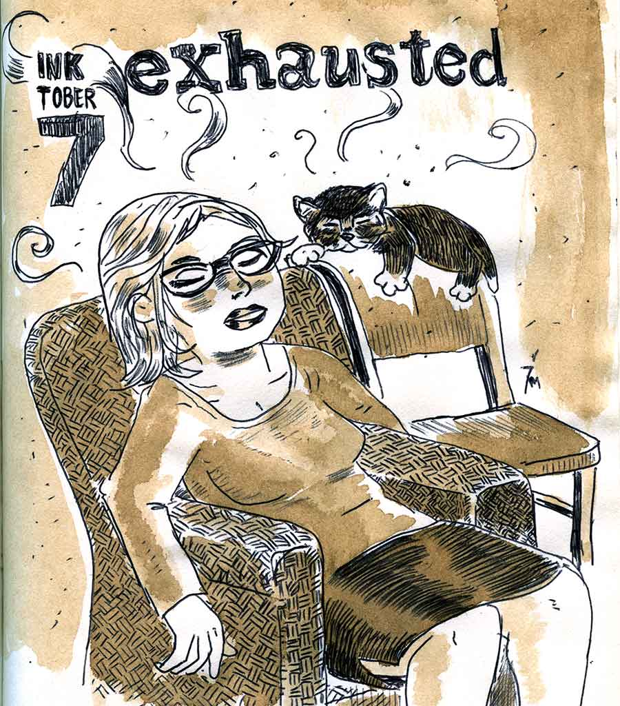 illustration title: Inktober 07: Exhausted.