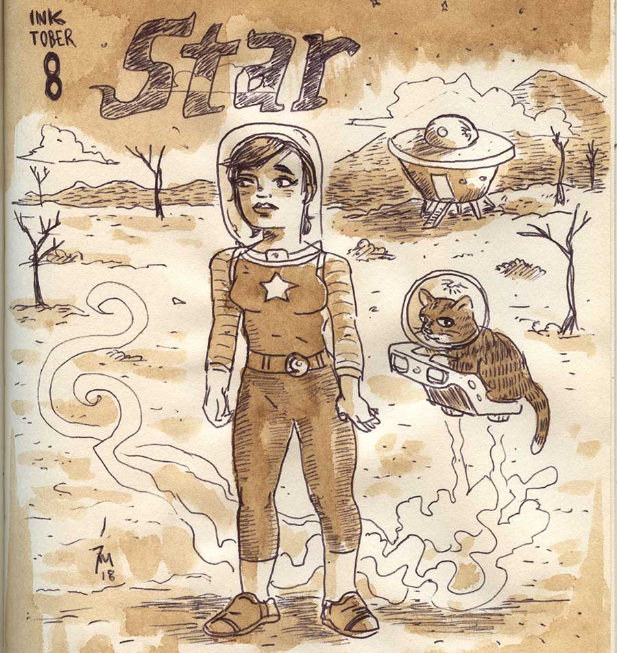 illustration title: Inktober 08: Star.