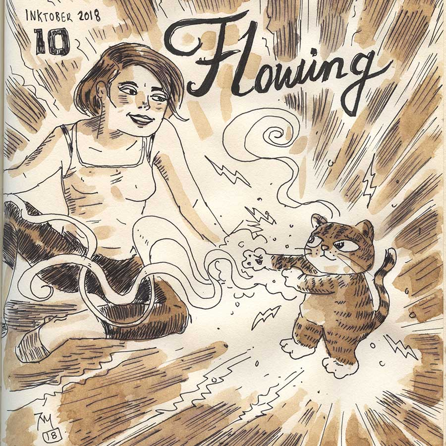 illustration title: Inktober 10: Flowing.
