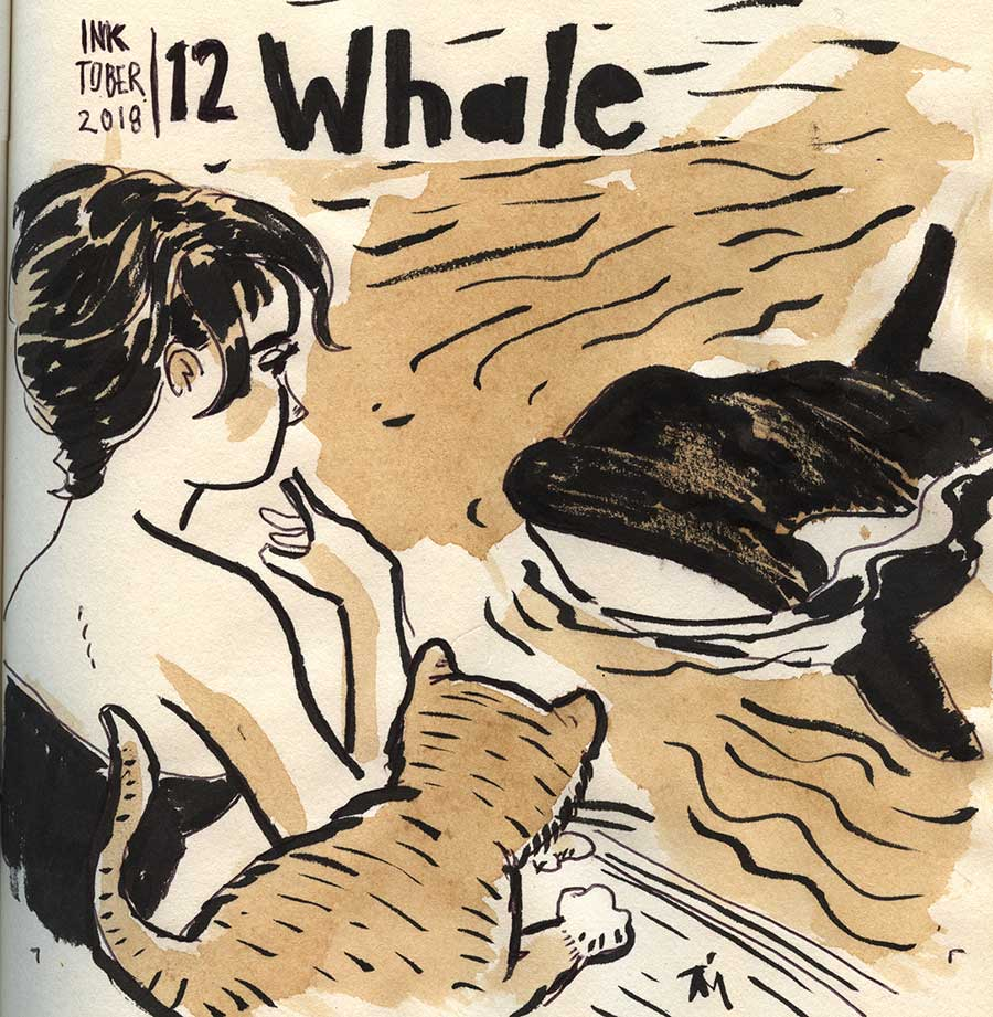 illustration title: Inktober 12: Whale.