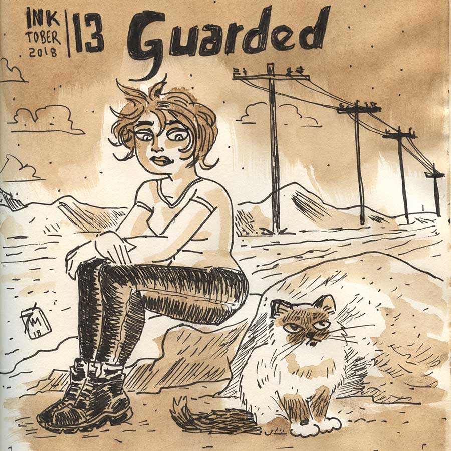 illustration title: Inktober 13: Guarded.
