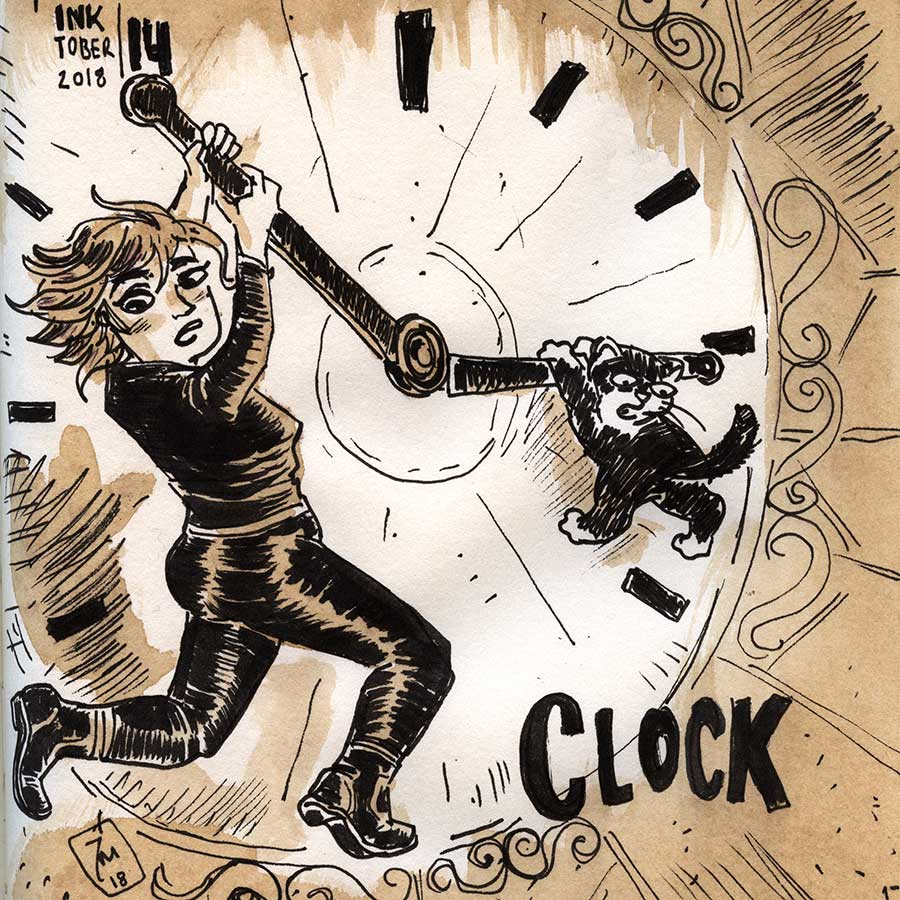 illustration title: Inktober 14: Clock.
