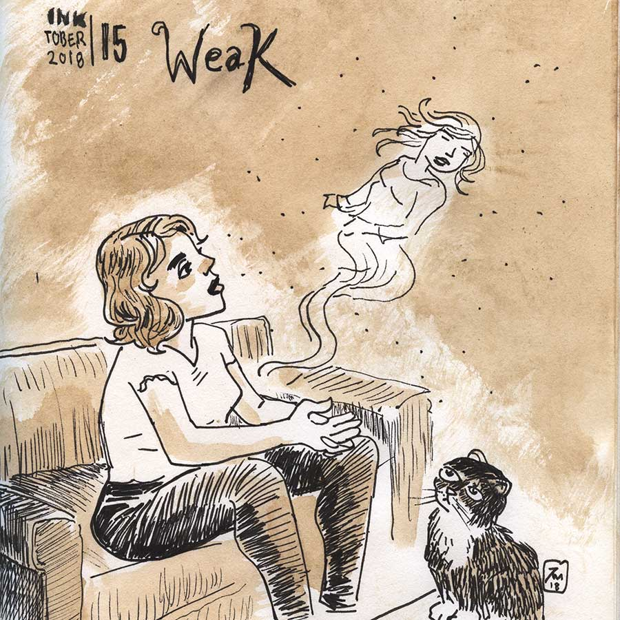 illustration title: Inktober 15: Weak.