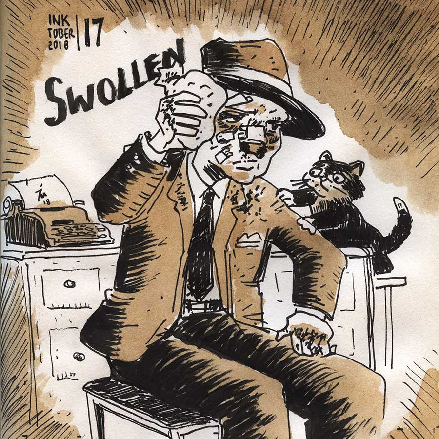illustration title: Inktober 17: Swollen.