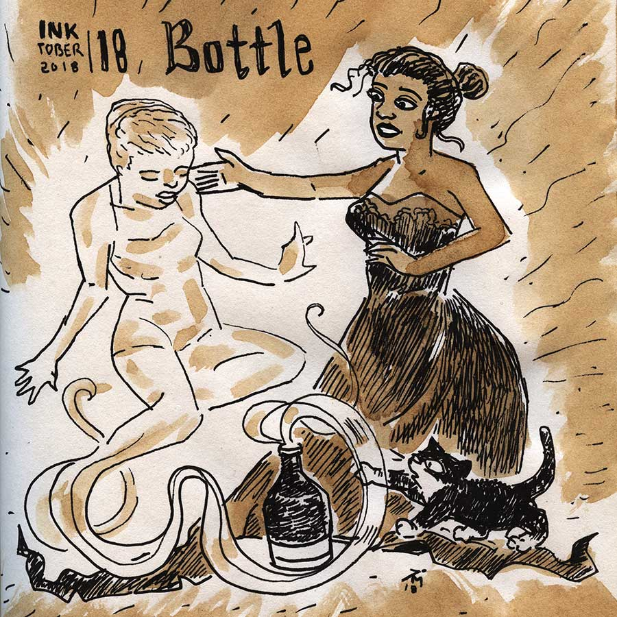 illustration title: Inktober 18 Bottle.