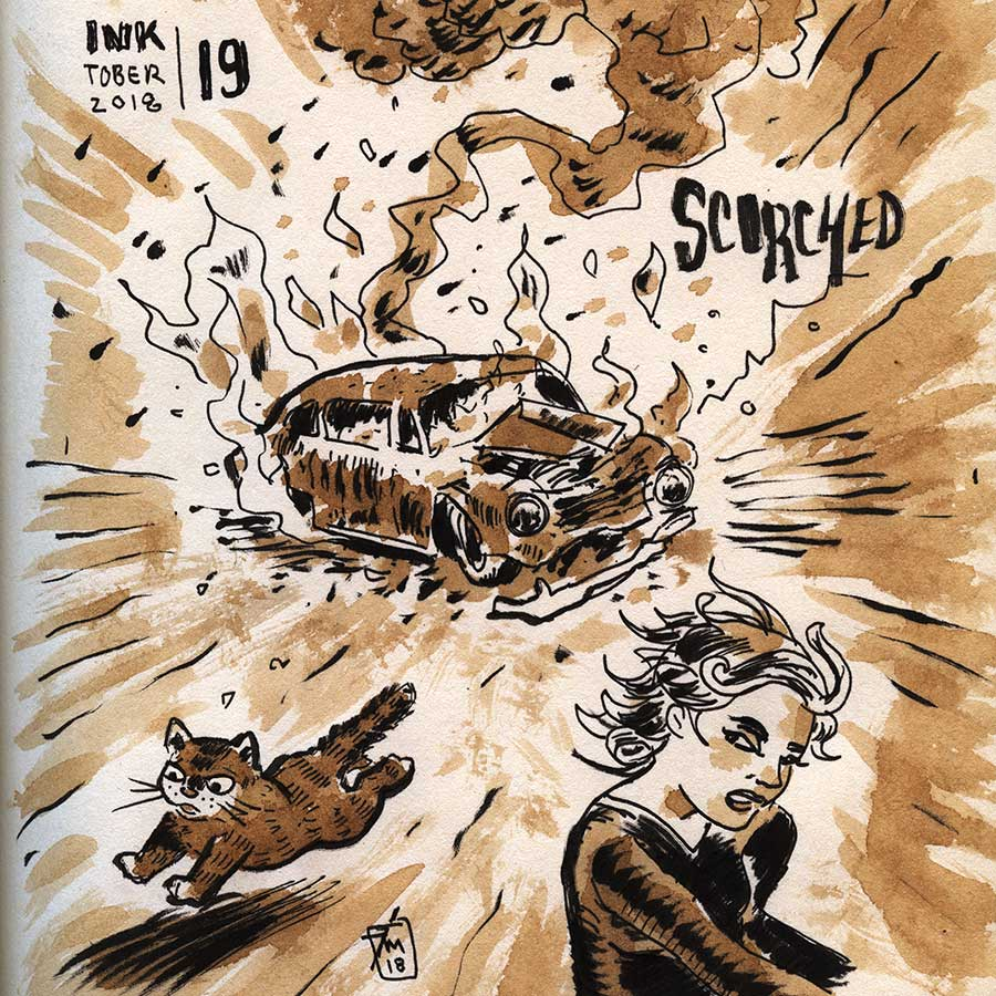 illustration title: Inktober 19: Scorched.