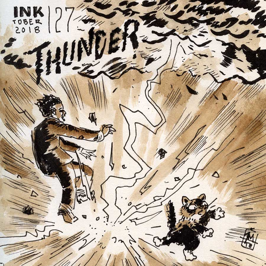 illustration title: Inktober 27: Thunder.