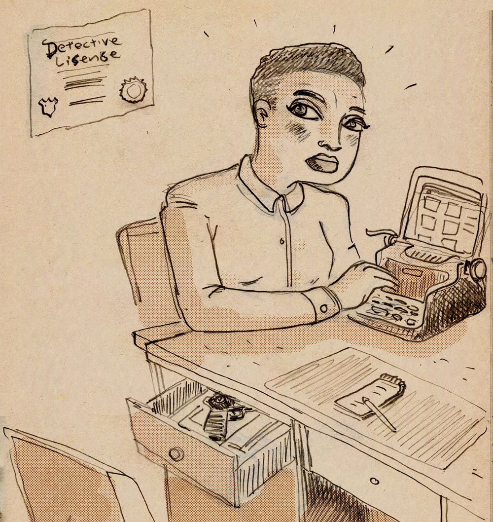 illustration titled: Background Check. A woman sitting at a desk near a device that looks like a typewriter and a tablet computer.
