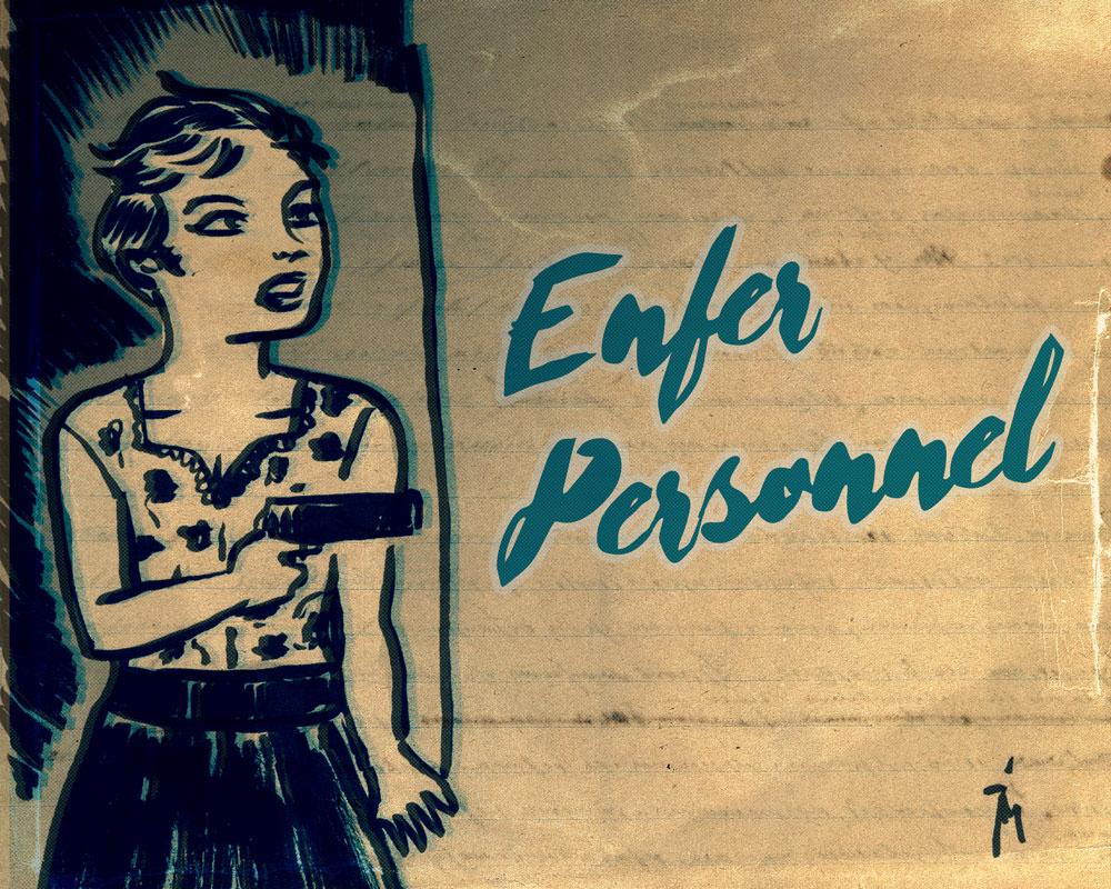 illustration titled: Enfer Personnel (Personal Hell) Woman with gun in dark room.