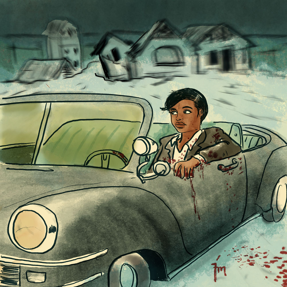 illustration titled: The Abondoned Mine. A woman sitting in a vintage convertable car with blood on her at an old mine in the background.