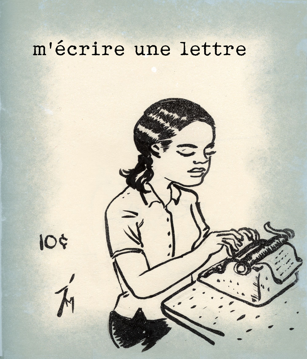 illustration titled: Writing a Letter to Myself. A woman sitting in front of a typewriter.