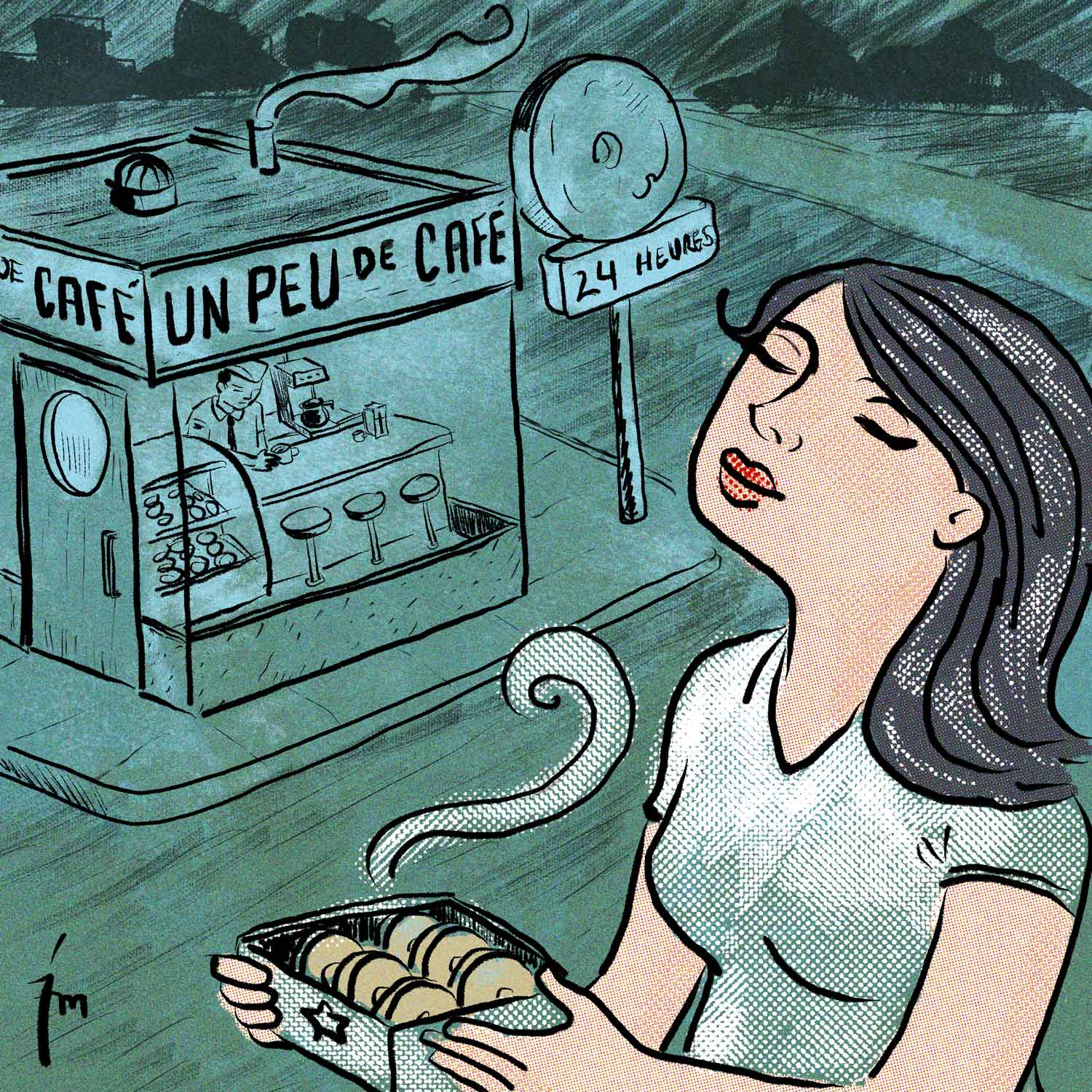 illustration titled: Un Peu De Cafe