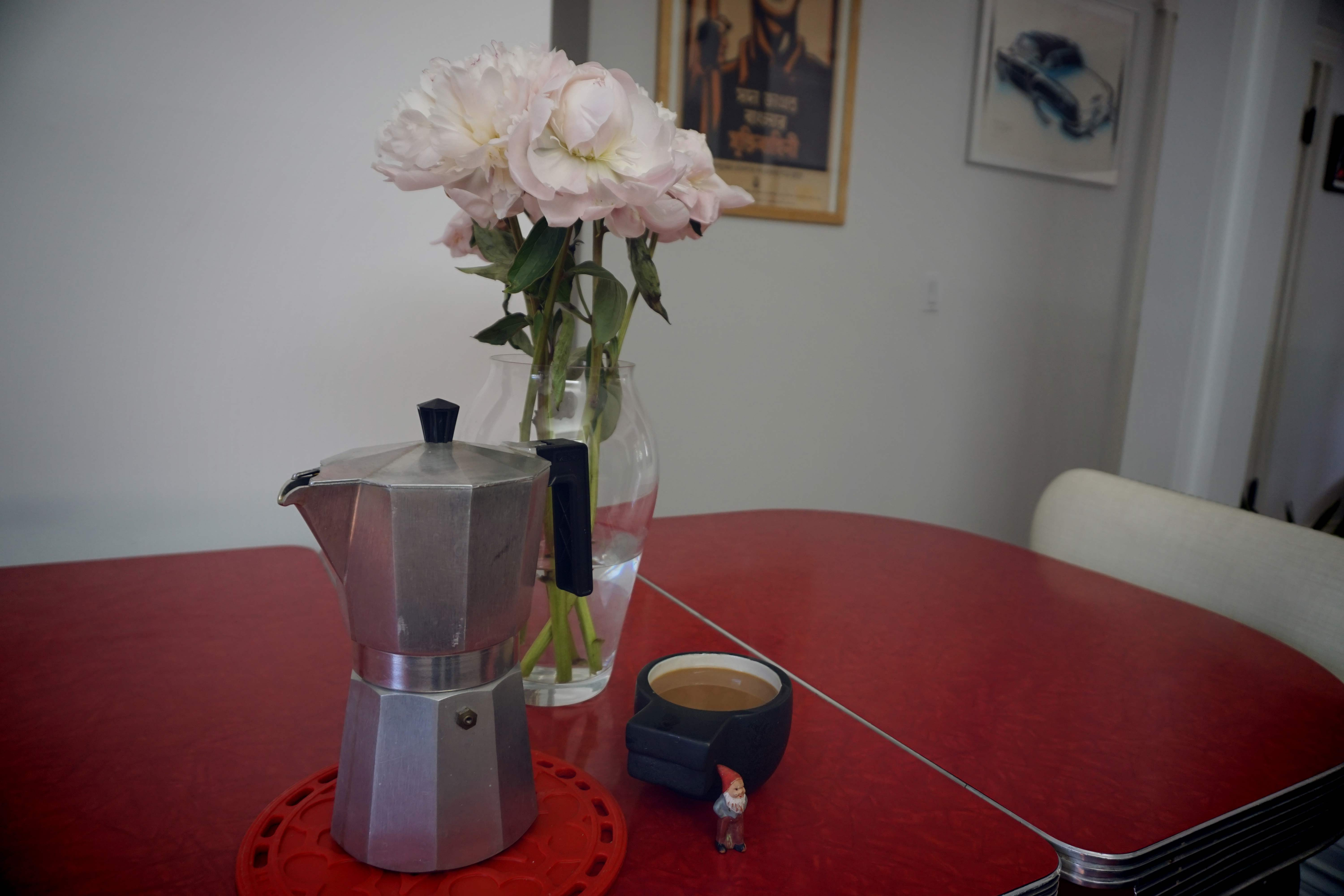 Photo of a coffee maker and some flowers. A small gnome is in the photo.