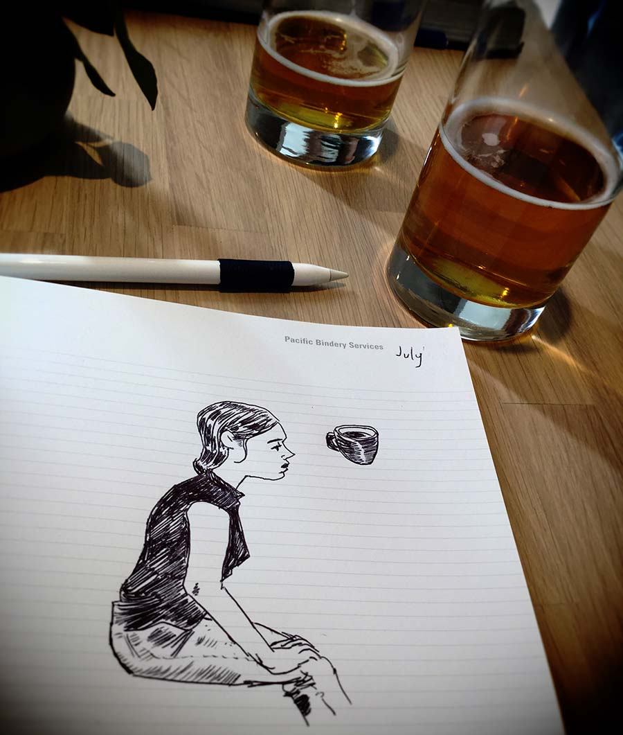 photo of a sketchbook and glasses of beer. Vancouver British Columbia, Canada